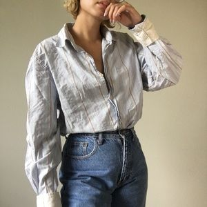 Express baby blue striped collared button down